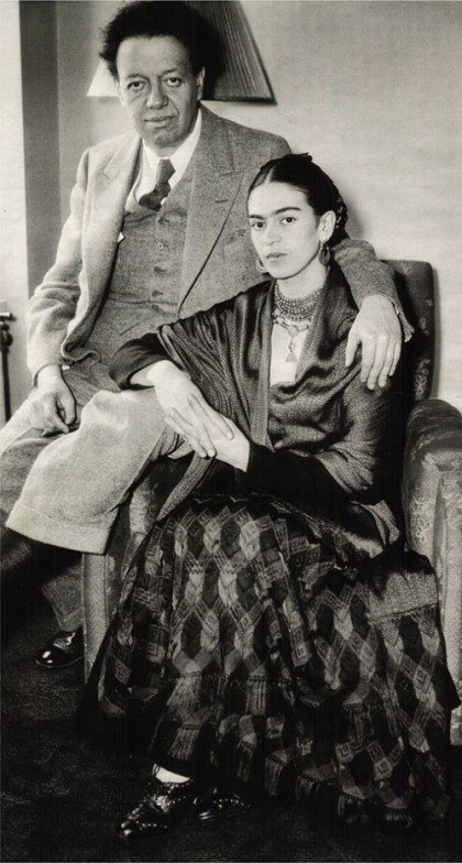 Rivera and Frida. As always, wearing lots of jewellery – beads, necklace, earrings
