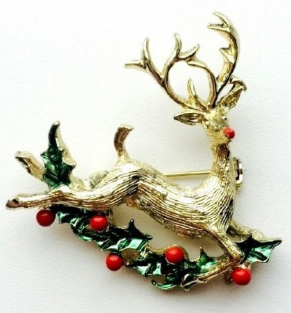Christmas brooch Deer, jewellery alloy, enamel