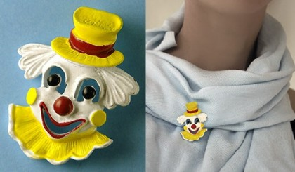 Clown brooch, vintage