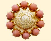 Gilt Gold Filigree Pink Brooch 1950s