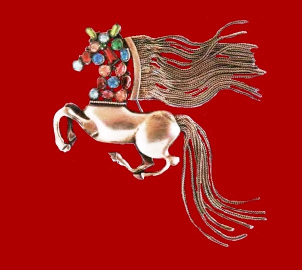 Horse brooch. Multicolored crystals and rock crystal. 1950's. 12.5 cm £ 165-200 ROX