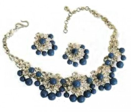 Necklace and earrings, Mitchell Maer. lapis lazuli, cabochons, rhinestone, 1959. Christian Dior jewellery