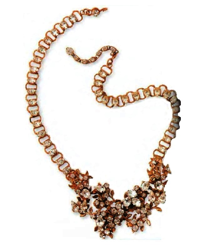 Necklace. metal, gilding, transparent crystals, rhinestone. 1960. The circumference 51 cm, flowers 7 cm. £ 165-180 MAC