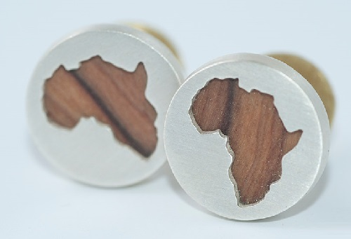 Olive wood and sterling silver Mens Cuff links – Africa. Handmade by jeweler Natasha Wood