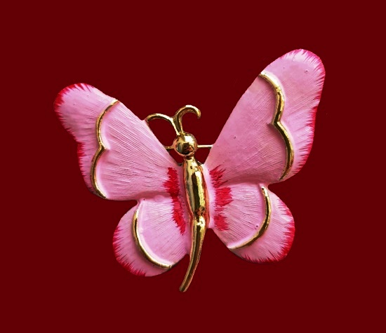 Pink butterfly brooch. 4.5 cm. 1980s