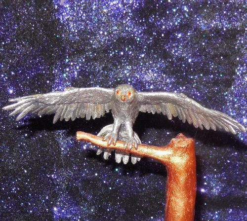 Polymer clay figurine Silver Owl. Jeweler Alexey Shevelyov