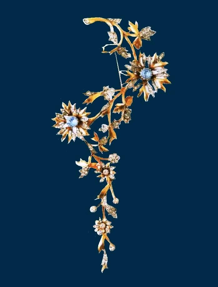 Rare Mitchel Maer Brooch for Dior, metal, gilding, aquamarine, rock crystal. 1951 £ 900-1100