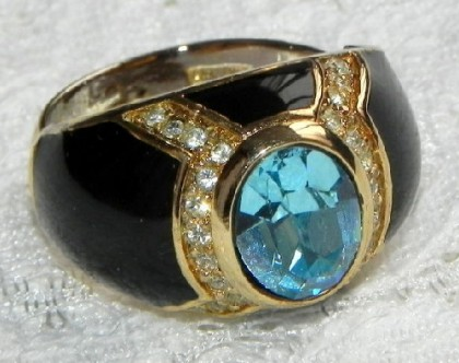 Ring with blue topaz, 1960s. Christian Dior jewellery