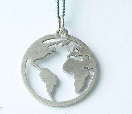 Silver Globe pendant. Handmade by jeweler Natasha Wood