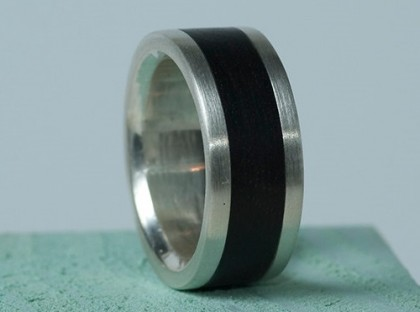 African Blackwood wide band mans ring. Handmade by jeweler Natasha Wood