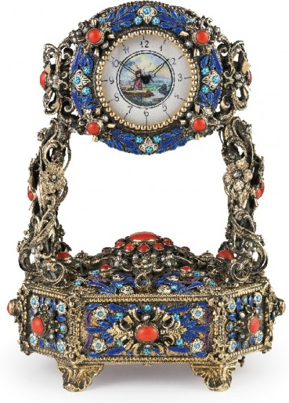 Table clock, end 19th -early 20th century. Silver, enamel, pearl and coral