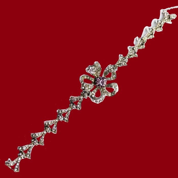 Silver metal bracelet with rhinestones. Late 1950s