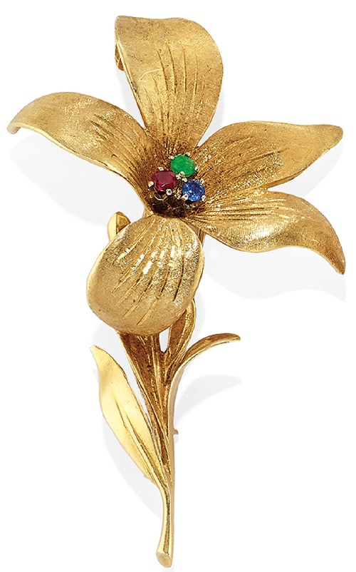 Rubies and sapphires brooch Flower. Two color gold