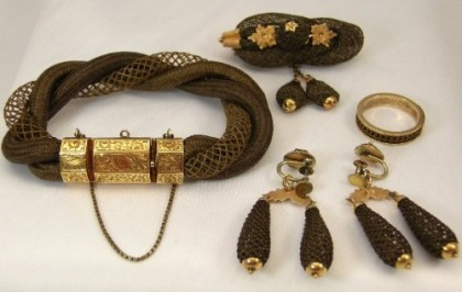 A set of Victorian Mourning jewellery of hair