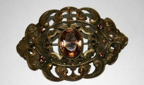 Eye shaped Victorian mourning brooch