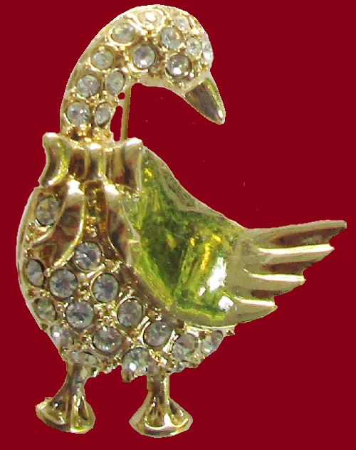 Goose with Bow Tie vintage Brooch Crystals Gold Tone