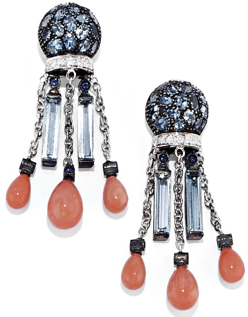 White gold, silver, sapphire, coral, aquamarines and diamonds earrings