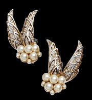 Winged earrings, faux pearl, crystals, 1950s