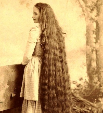 Woman with long hair, retro photo