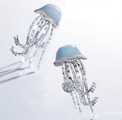 A pair of chalcedony and diamond Jellyfish ear clips, sold at Sotheby's in 2013. Michele della Valle jewellery