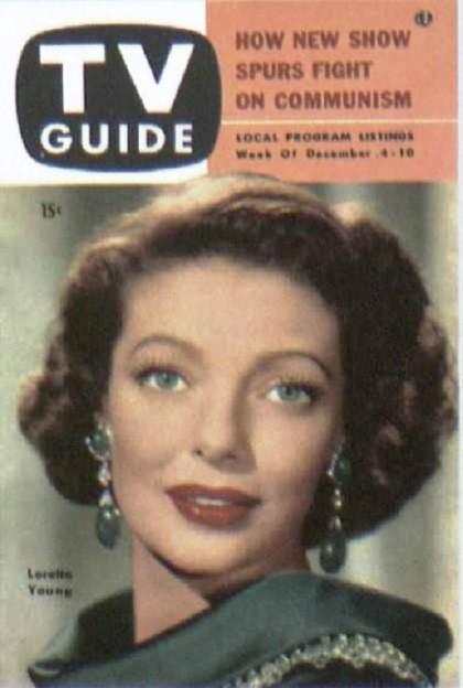 TV Guide. Loretta in her emerald and diamond ear clips