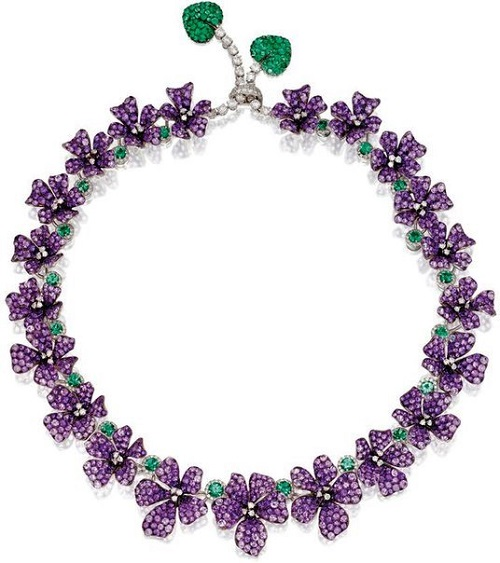 Purple necklace. Michele della Valle. Amethysts, emeralds, diamonds