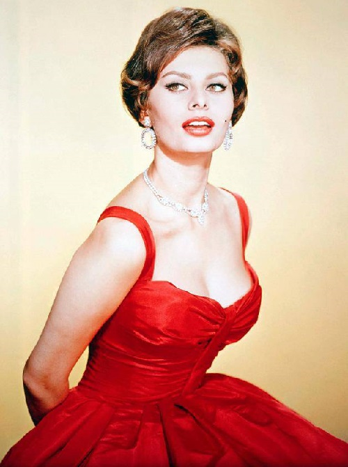 In a red dress, Sofia