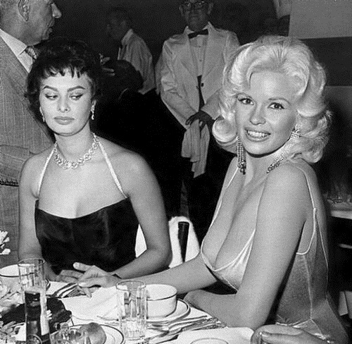 Funny photo of Jayne Mansfield and Sophia Loren