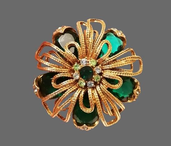 Rope flower gold tone rhinestones brooch. 1960s