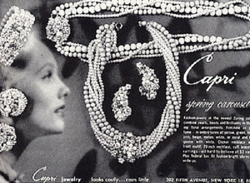 Promotional Capri vintage costume jewellery