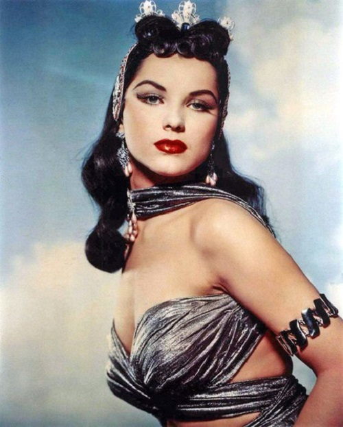 Always beautiful in her jewelry decorations, Debra Paget