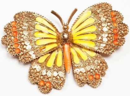 Wonderful Capri brooch in the form of butterfly, 1960s. Interesting 'lace' technique, enamel