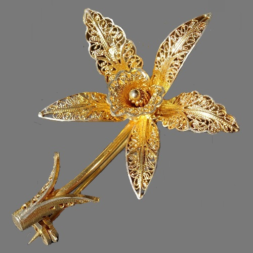 Golden silver Orchid brooch