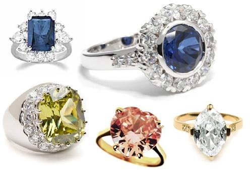 Diamond, sapphire and emerald - precious rings of Lana Turner rings