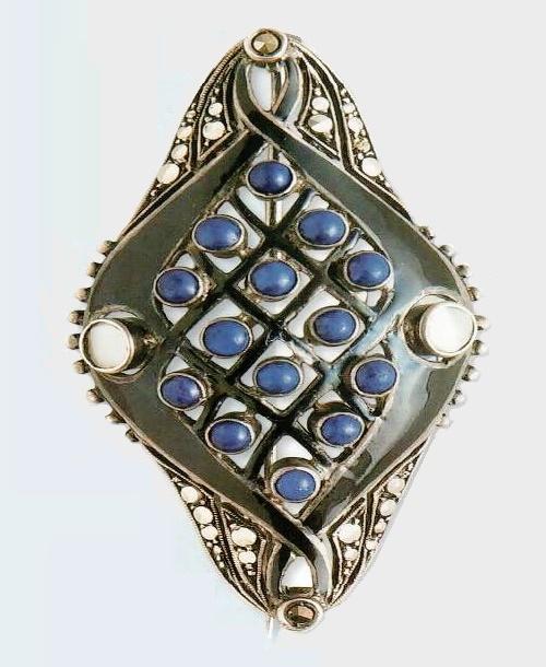 1930 Art Deco silver brooch, enamel, lapis lazuli, and amethyst cabochons