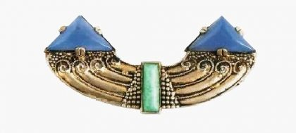 1927 Art Deco brooch, made of silver, gilding, amazonite, and blue glass