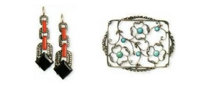 The end of the 1920s Earrings. Silver, marcasite, onyx, coral