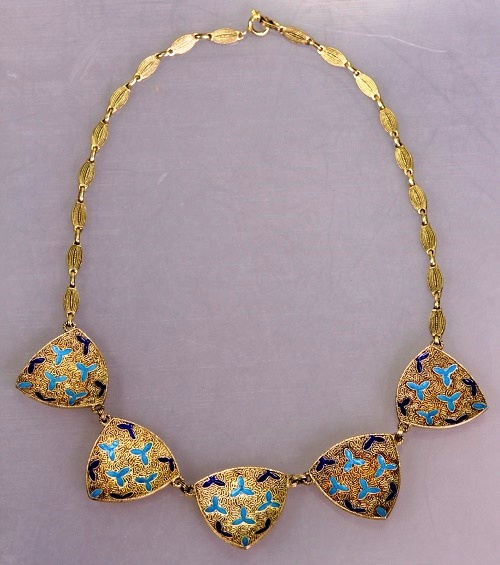Silver and enamel beautiful necklace
