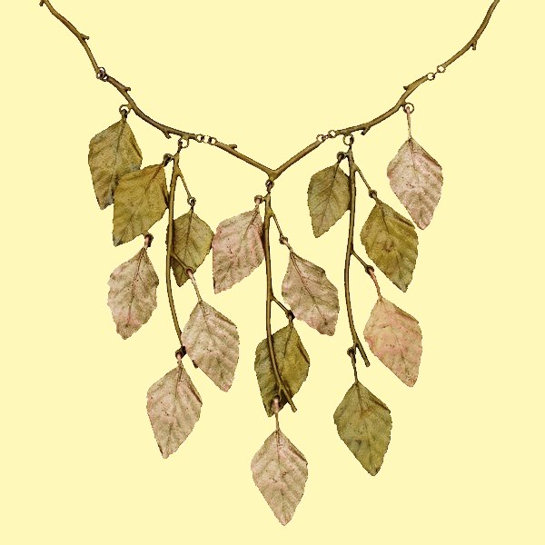 The Autumn Birch Bib Necklace. Bronze, gold, cast in bronze from the leaves of the weeping birch tree