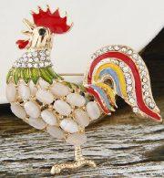 Beautiful rhinestone brooch Rooster