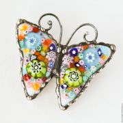 Butterfly Brooch made in the technique of stained glass Tiffany, Murano glass