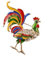 Colorful brooch Rooster