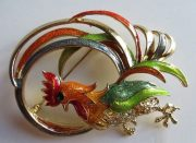 Costume brooch Rooster