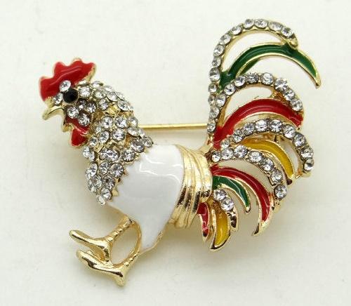 Danish Rooster vintage brooch