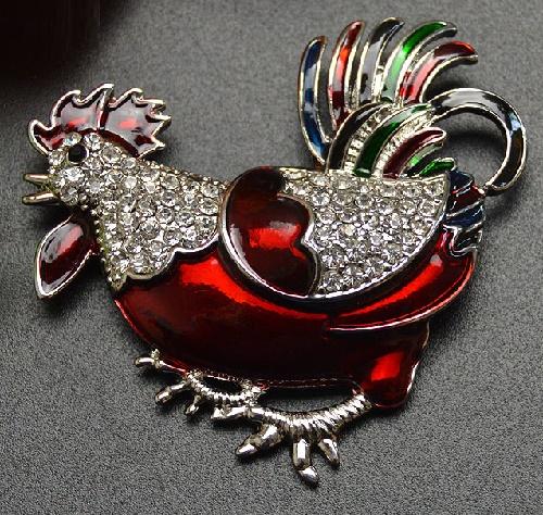 Enameled rhinestone brooch Roster