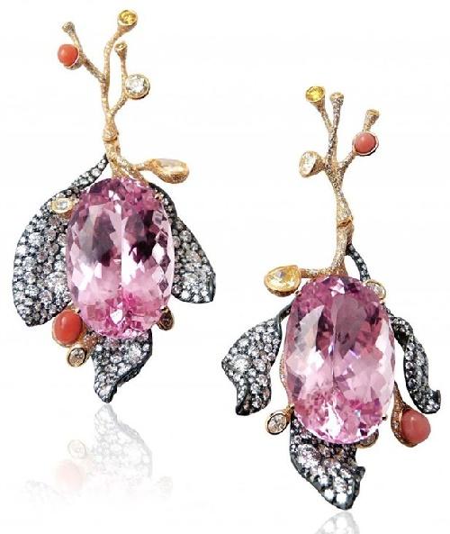 Four Seasons 2016 earrings with kunzite and diamonds