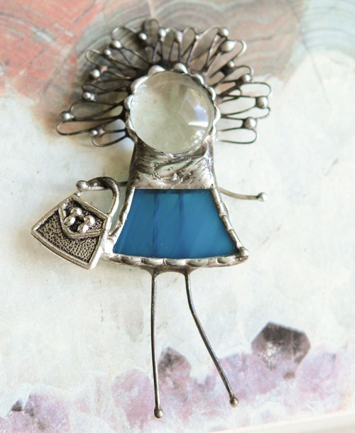Glamorous girl brooch in stained glass technique Tiffany. Murano Glass. metal patina under the burnished silver