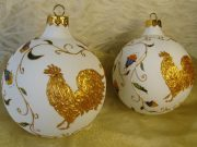 Gold painted roosters. Christmas balls. Workshop of presents Eleniele