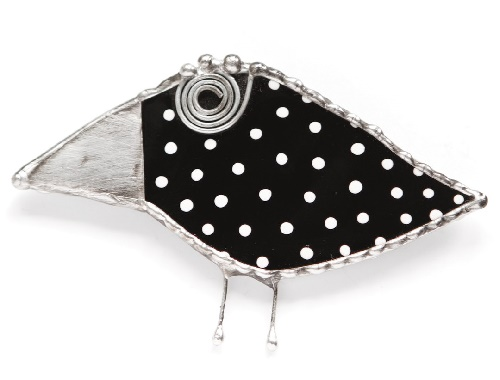 Raven black white peas. Stained glass brooch. glass, metal (tin, copper), patina. Kiln painted