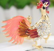 Red tailed Rooster key ring